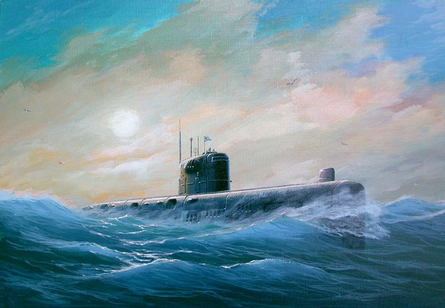 фото подводная лодка в волнах