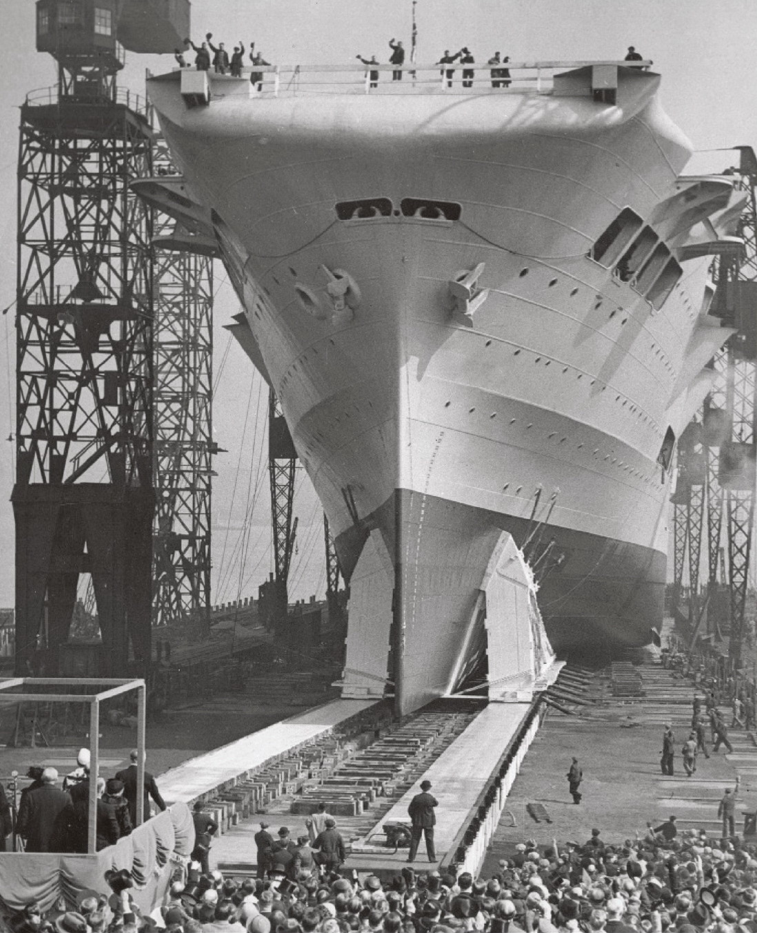 Ark Royal was launched by Lady Maud Hoare on April 13, 1937.jpg