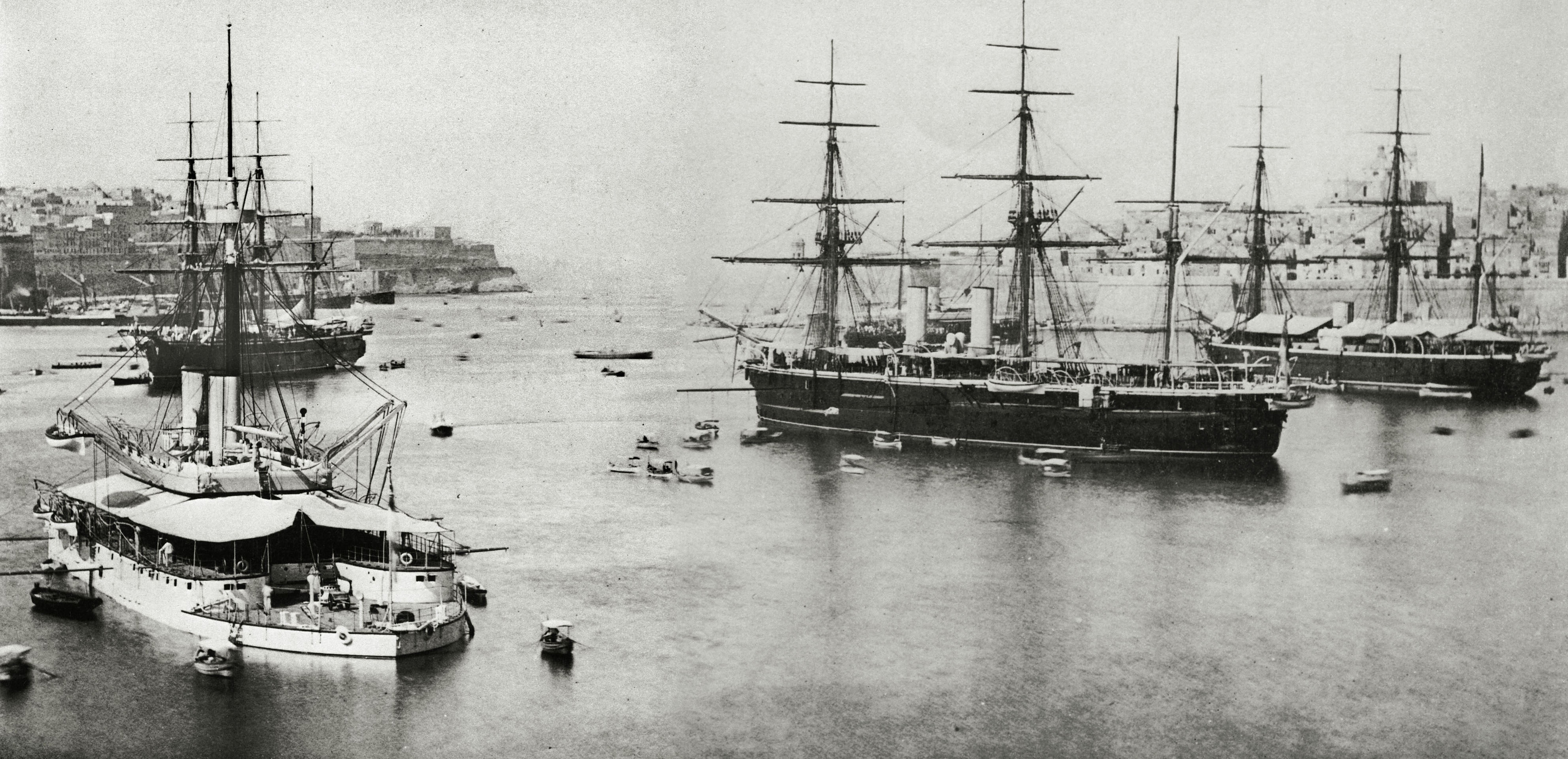 Thunderer with Invincible behind; and on the right, Alexandra with Monarch behind Malta 1882.jpg